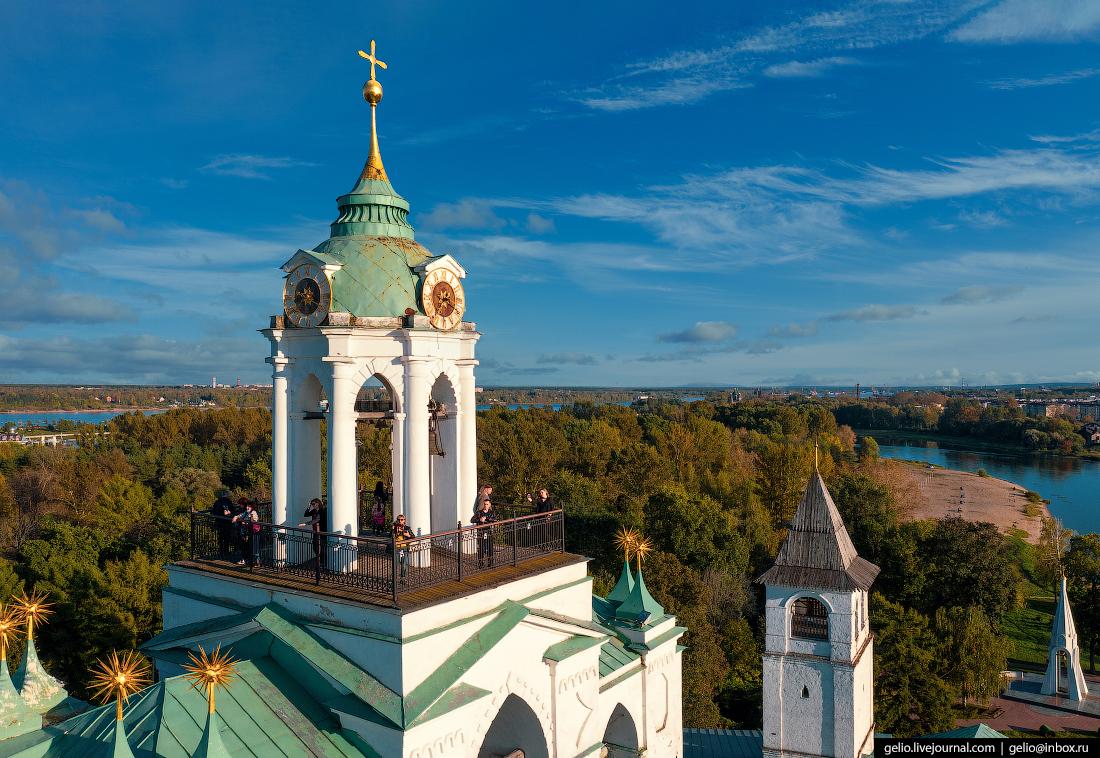 Ярославль с высоты Спасо-Преображенский монастырь звонница