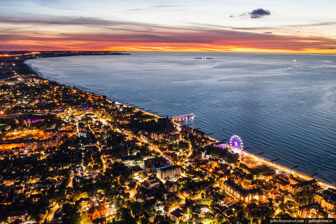 зеленоградск, курорт, балтийское море, ночной город, вечерний